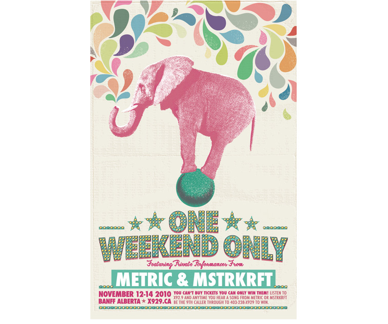 Metric / MSTRKRFT One Weekend Only 2010 Poster